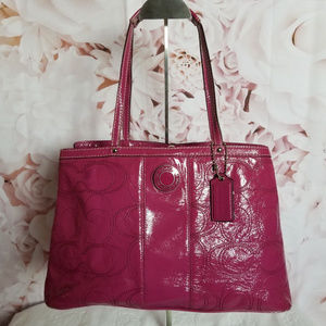 Coach Stitched & Framed Handbag Fuchsia